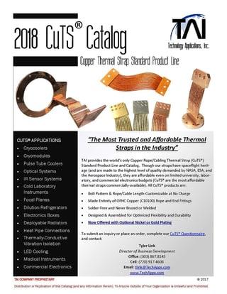 2018 Copper Thermal Strap Catalog