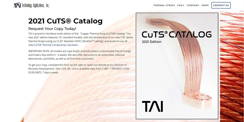 TAIs 2021 Copper Thermal Strap Catalog Released_