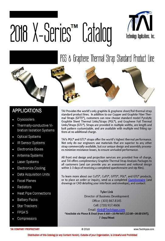 our latest catalog features the x series standard line straps made with your choice of pyrolytic graphite sheet pgs